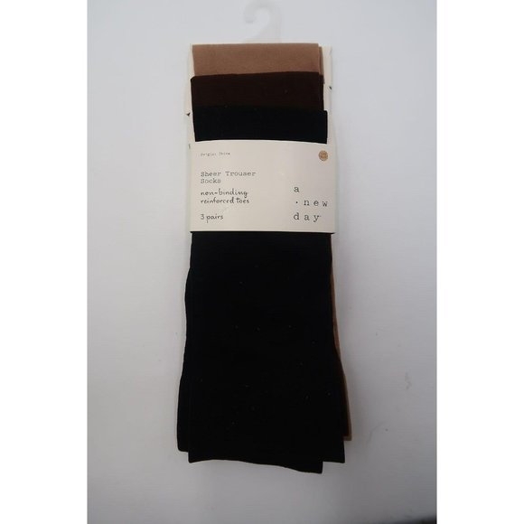 A NEW DAY 3PK OPAQUE TROUSER SOCKS 4-10  20-38